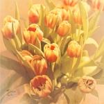 Tulpenstrauss von oben
